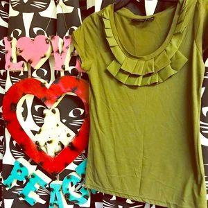 New York & Company olive green blouse medium